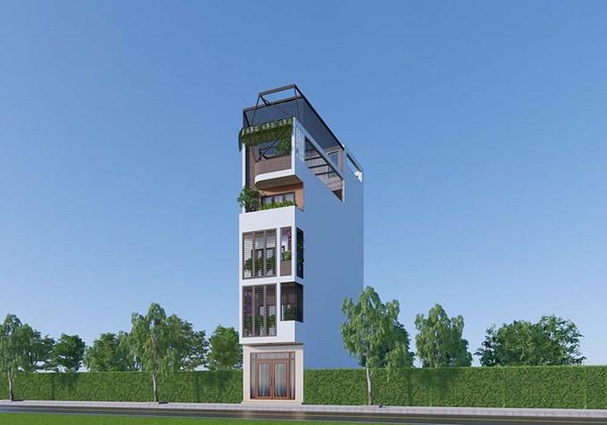 Hình ảnh của Thiết kế mẫu nhà phố hiện đại 5 tầng XD trên đất méo tại phường Ngô Quyền, TP Bắc Giang