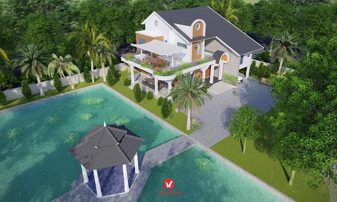 Hình ảnh của Thiết kế mẫu Biệt thự 2,5 tầng phong cách hiện đại tại Hiệp Hòa Bắc Giang