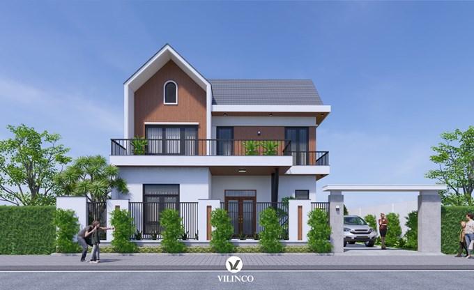 Hình ảnh của Thiết kế mẫu biệt thự 2 tầng hiện đại có sân vườn tại Bắc Giang