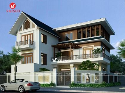 Hình ảnh của Mẫu Biệt thự mái thái 3 tầng đẹp tại Song Khê, TP. Bắc Giang - CĐT Nguyễn Văn Thái