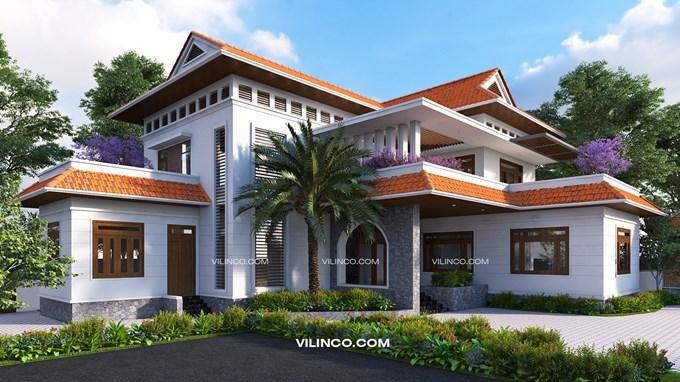 Hình ảnh của Mẫu Biệt thự mái thái 2 tầng đẹp hiện đại tại Bắc Giang