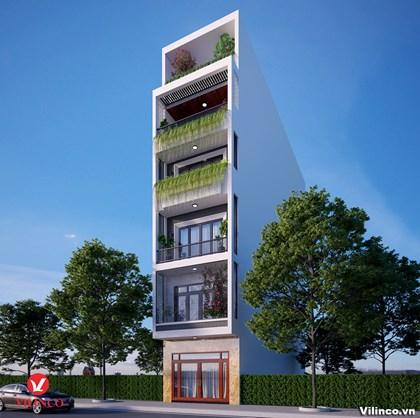 Hình ảnh của Thiết kế nhà phố hiện đại 6 tầng mặt tiền 5m có tổng diện tích 92,5m2 tại Bắc Giang