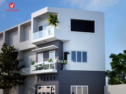 Hình ảnh của Mẫu thiết kế nhà phố đẹp trên đất méo tại Thành phố Bắc Giang
