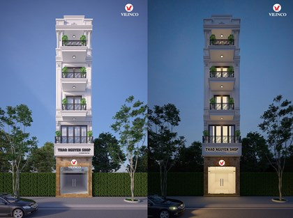 Hình ảnh của Thiết kế nhà phố tân cổ điển 5 tầng kết hợp kinh doanh tại Bắc Giang