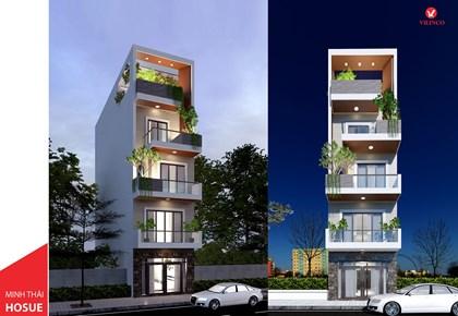 Hình ảnh của Thiết kế nhà ống lệch tầng hiện đại 3 phòng ngủ tại Bắc Giang